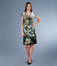 Rochie din jerse elastic imprimeu floral si cordon