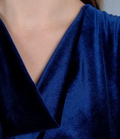 Rochie din catifea elastica cu cordon