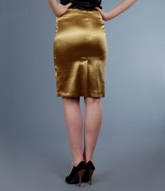 Fusta din saten elastic auriu