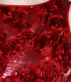 Rochie cu corsaj cu motive florale si paiete
