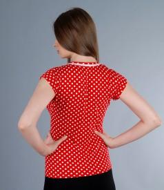 Tricou din jerse elastic imprimat cu garnitura si aripioare