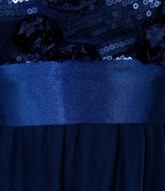Rochie de seara lunga cu corsaj cu motive florale si paiete