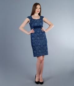 Rochie din denim elastic brocat