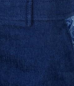 Fusta din denim elastic bleumarin