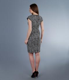 Rochie din bumbac elastic gofrat alb-negru