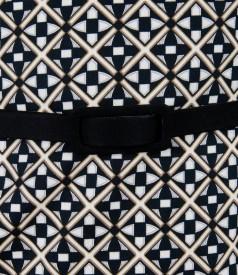 Rochie din bumbac elastic imprimat cu curea