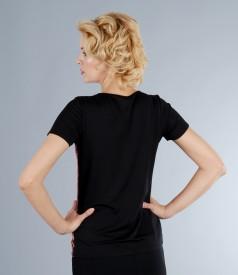 Bluza din jerse cu fata de saten elastic