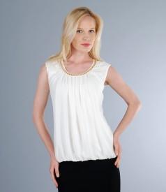 Bluza din jerse elastic dublat cu voal