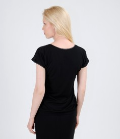 Bluza din jerse elastic cu fata de voal imprimat