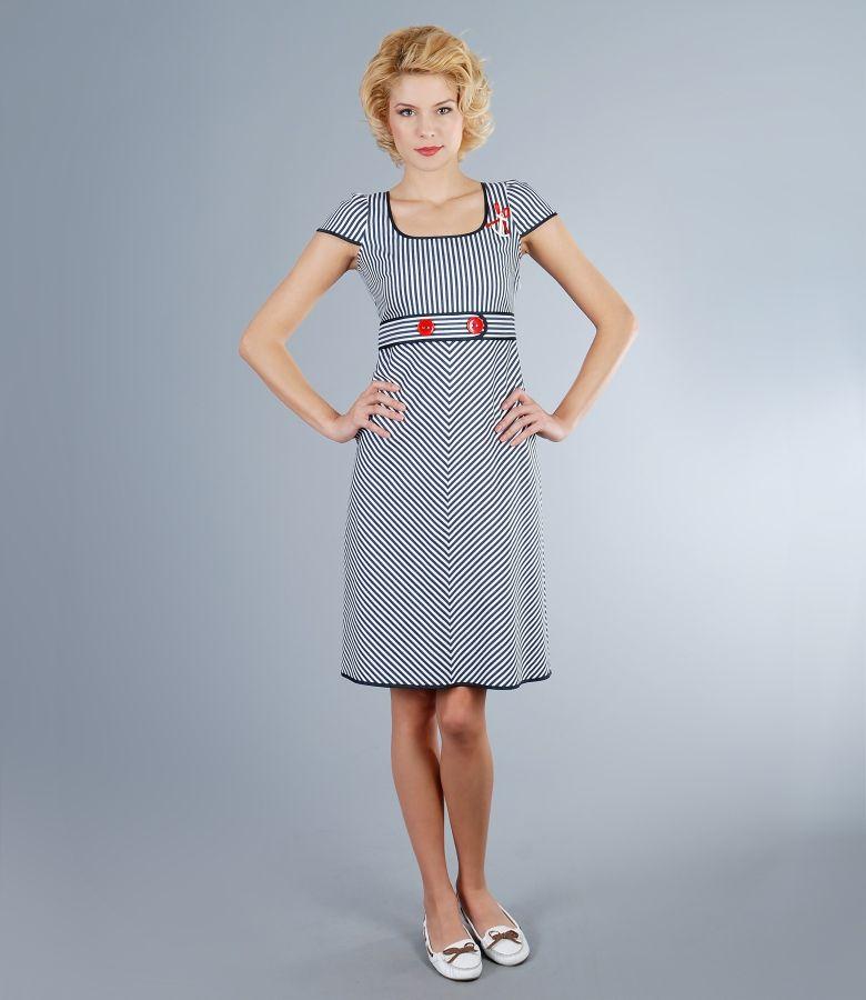 Rochie din bumbac elastic alb-bleumarin