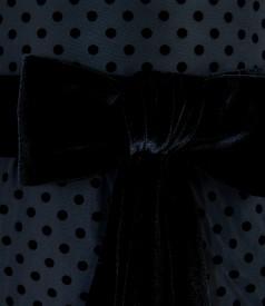 Rochie de seara din tafta neagra cu picouri si cordon de catifea