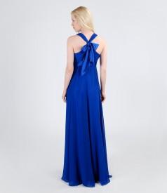 Rochie lunga din voal cu garnitura