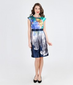 Rochie din saten elastic imprimat cu falduri