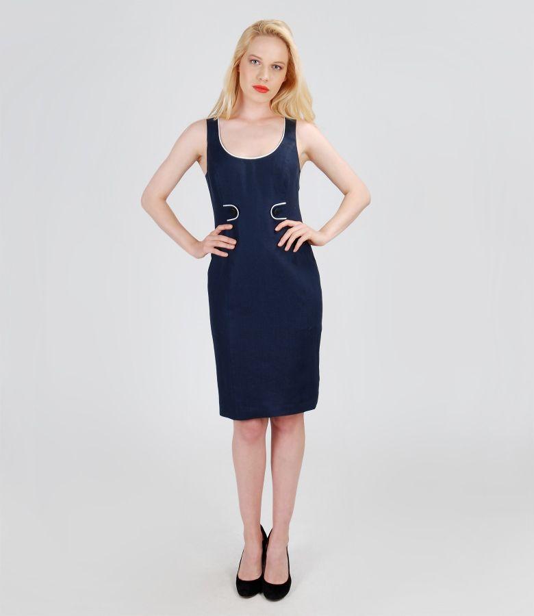 Rochie din in bleumarin cu garnitura