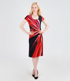 Rochie din jerse elastic cu imprimeu geometric