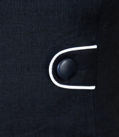 Rochie din in negru cu garnitura