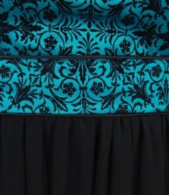 Rochie de seara cu corsaj cu motive de catifea