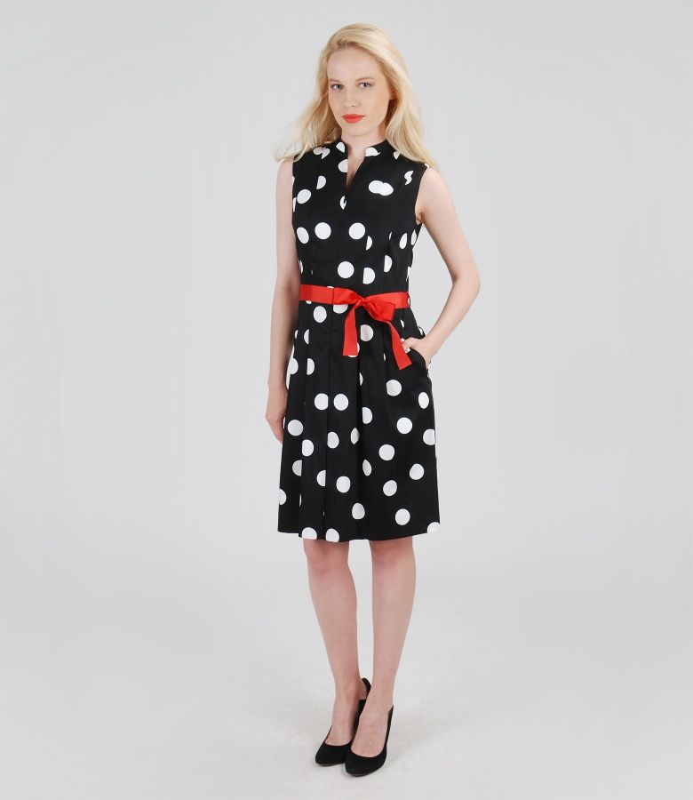 Rochie din bumbac elastic imprimat cu buzunare si cordon