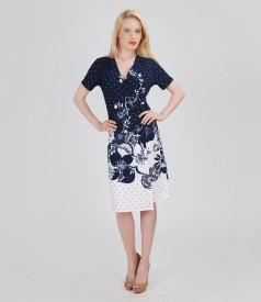 Rochie din jerse elastic imprimat cu catarama