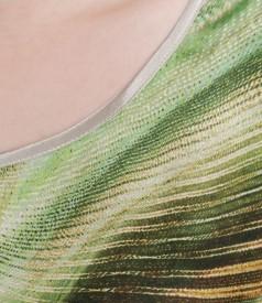 Bluza din jerse elastic cu fata de saten de matase imprimata