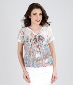Bluza din voal imprimat cu esarfa