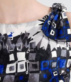 Rochie din bumbac imprimat cu fundite