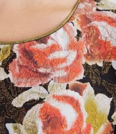 Rochie din brocart elastic multi-color cu fir metalic