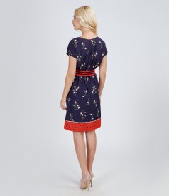 Rochie din voal imprimat cu talia elastica