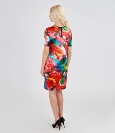 Rochie din saten elastic imprimat cu buzunare