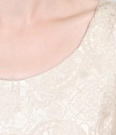 Rochie din brocart elastic si voal