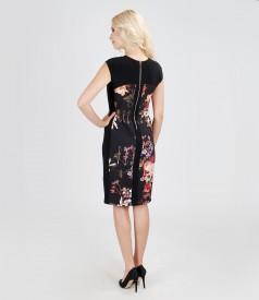 Rochie eleganta din stofa elastica cu insertie florala