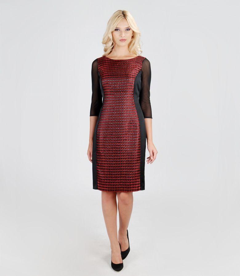 Rochie eleganta din brocart si saten elastic