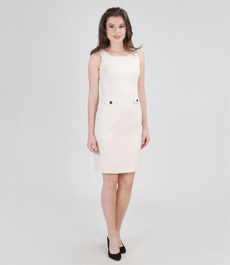 Rochie eleganta crem cu garnitura de lac contrast