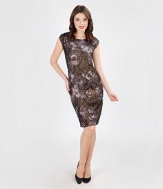 Rochie de seara din brocart elastic multi-color cu fir metalic