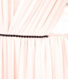 Rochie de seara lunga din voal si saten cu garnitura de cristale