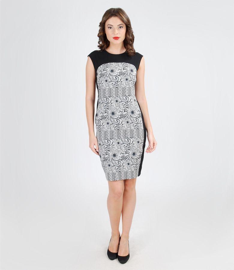 Rochie eleganta din stofa elastica cu insertie imprimata