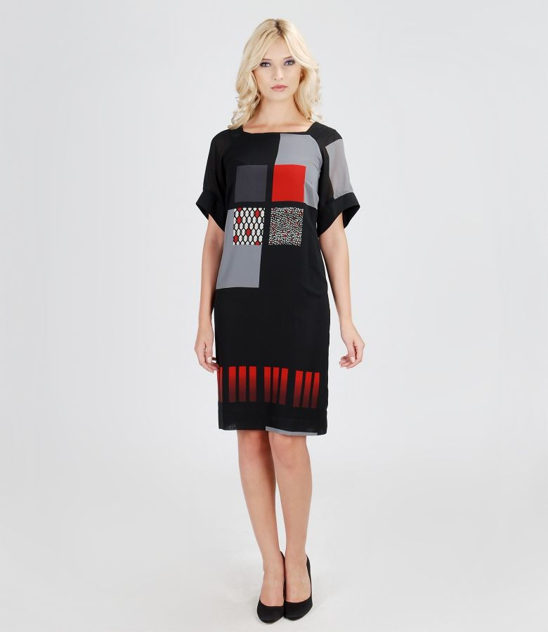 Rochie de voal elastic imprimat cu maneci
