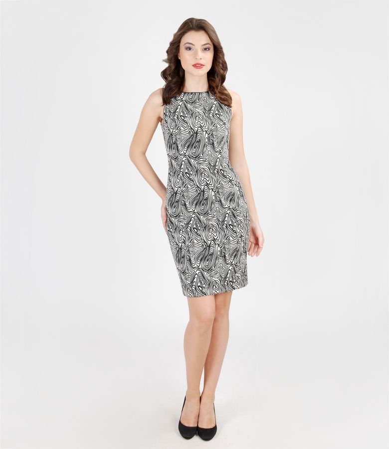 Rochie din brocart elastic alb-negru