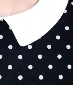 Tricou din jerse elastic imprimat cu guler