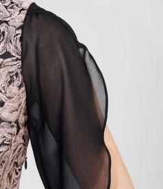 Rochie de seara din brocart elastic si voal