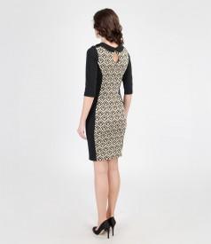 Rochie din jerse elastic cu insertie de brocart cu fir de efect
