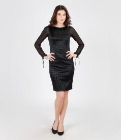 Rochie de seara din stofa elastica brocata cu catifea
