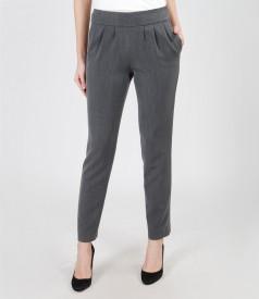 Pantaloni din stofa elastica cu buzunare si falduri