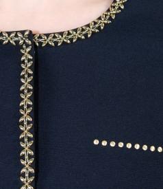 Sacou din stofa elastica cu garnitura si tinte metalice aurii