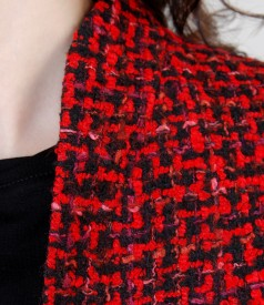 Sacou elegant din bucle multicolor cu lana si bumbac