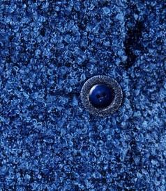 Sacou din bucle albastru cu bumbac