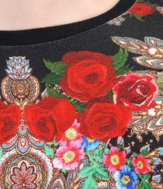 Bluza din jerse elastic imprimat cu angora