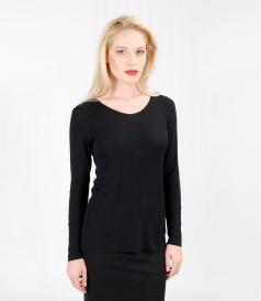 Bluza din jerse elastic moale cu lana