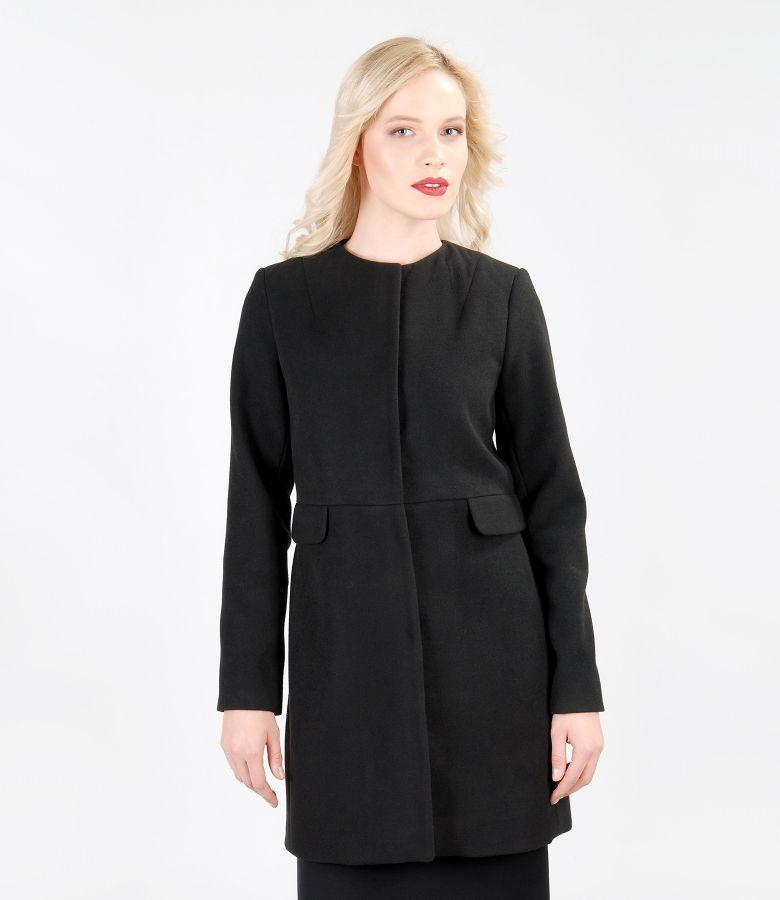Palton negru cu buzunare