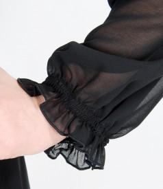 Rochie de seara din voal cu maneci bufante si garnitura